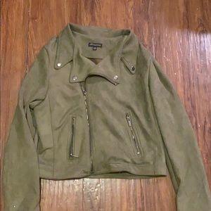 Army green zip fall jacket